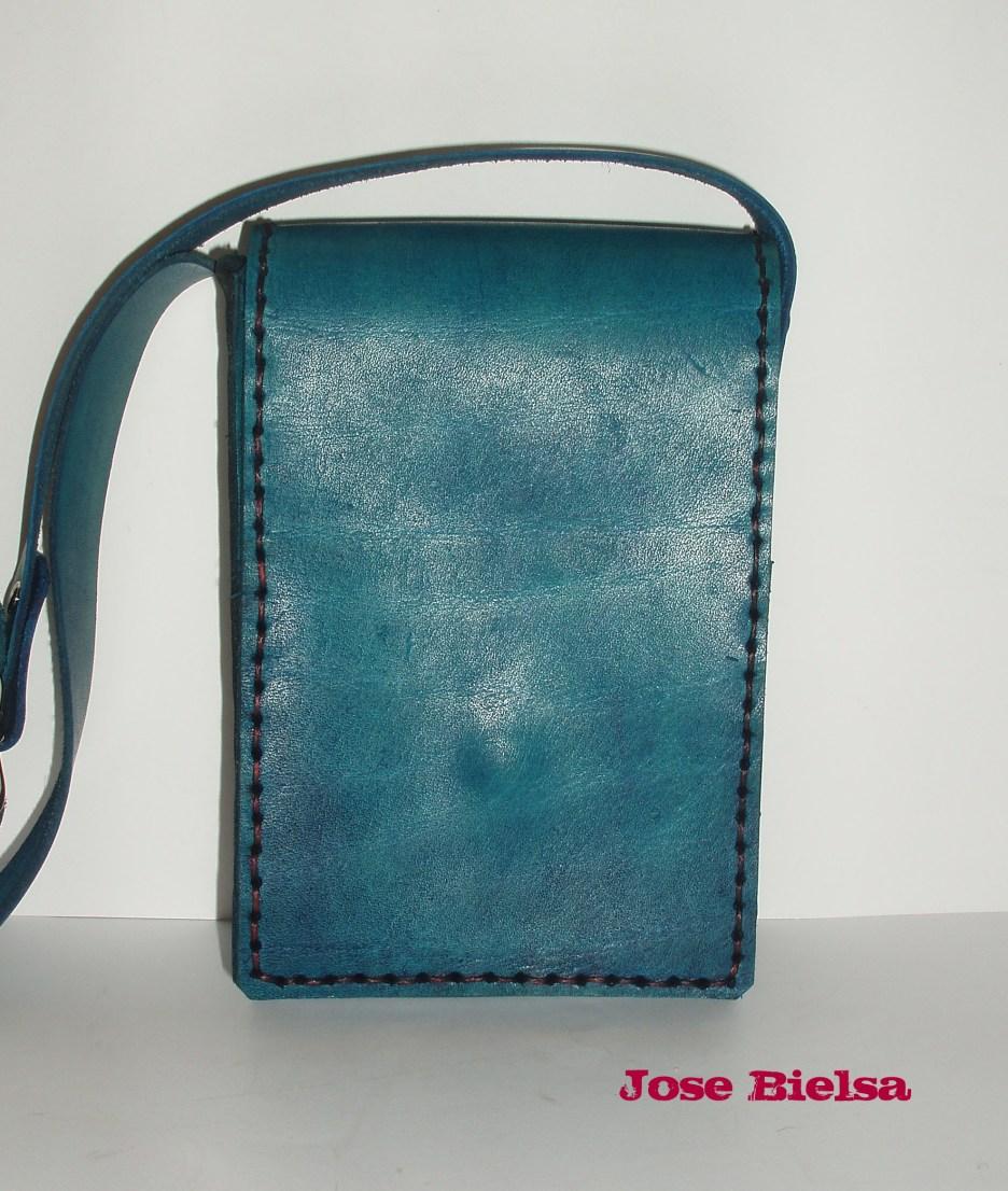 Bolso de Cuero Liso Pequeño Azul