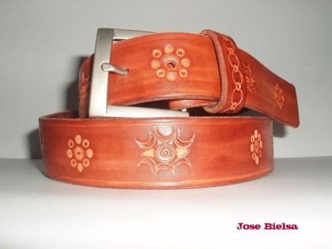 Cinturón de Cuero Troquelado 4cm - Marrón