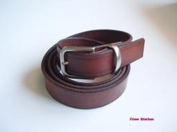 Cinturón de Cuero 3 cm Marrón - Hebilla Modelo 305
