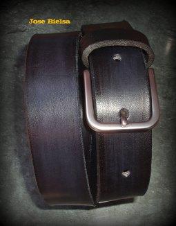 Cinturón de Cuero 3 cm Negro - Hebilla Modelo 305