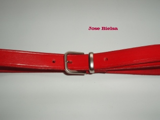 Cinturón de Cuero 3 cm Rojo- Hebilla Modelo 305