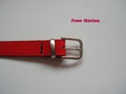 Cinturón de Cuero 3 cm Rojo - Hebilla Modelo 305