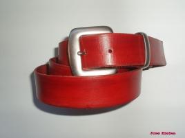 Cinturón de Cuero 4cm Rojo - Hebilla Modelo 401