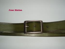 Cinturón de Cuero 4cm Verde - Hebilla Modelo 402