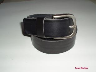 Cinturón de Cuero 4cm Negro - Hebilla Modelo 404