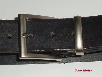 Cinturón de Cuero 4cm Negro - Hebilla Modelo 408