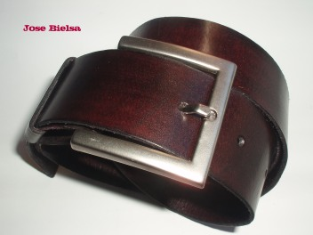 Cinturón de Cuero 4cm Chocolate - Hebilla Modelo 408