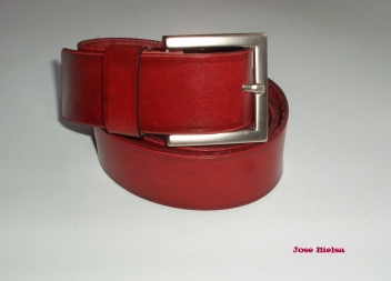 Cinturón de Cuero 4cm Rojo - Hebilla Modelo 408