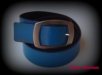 Cinturón de Cuero 4cm Azul - Hebilla Modelo 409
