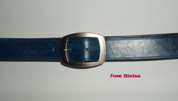Cinturón de Cuero 4cm Azul Marino - Hebilla Modelo 409