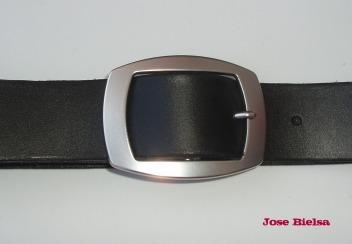 Cinturón de Cuero 4cm Negro - Hebilla Modelo 409