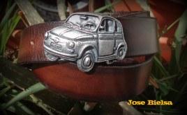 Cinturón Cuero 4 cm Marrón - Hebilla SEAT 600