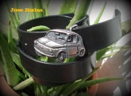 Cinturón Cuero 4 cm Negro - Hebilla SEAT 600