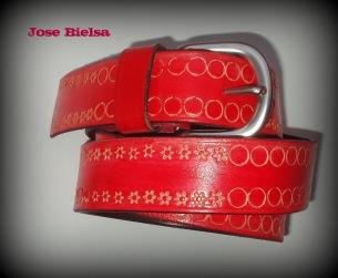 Cinturón de Cuero Troquelado 4 cm Rojo - Hebilla Modelo 404