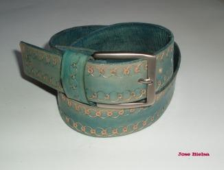 Cinturón de Cuero Troquelado 4 cm Azul - Hebilla Modelo 405