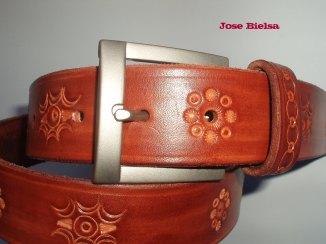 Cinturón de Cuero Troquelado 4 cm Marrón - Hebilla Modelo 406
