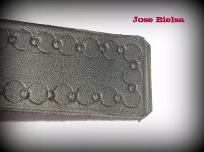 Cinturón de Cuero Troquelado 4 cm Negro - Hebilla Modelo 406