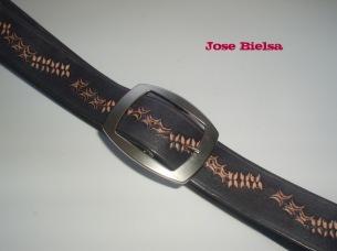 Cinturón de Cuero Troquelado 4 cm Negro - Hebilla Modelo 409