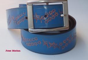 Cinturón de Cuero Troquelado 4 cm Azul - Hebilla Modelo 415